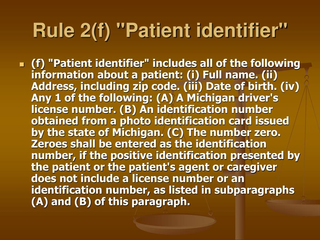 "Rule 2(f) ""Patient identifier"""