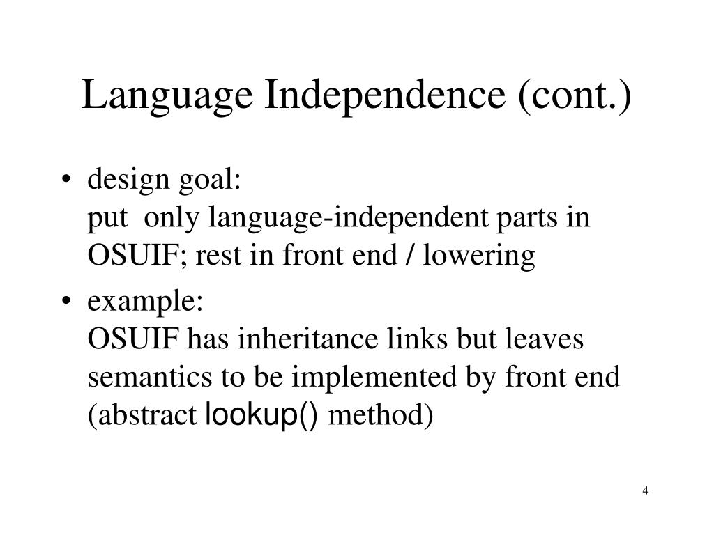 Language Independence (cont.)