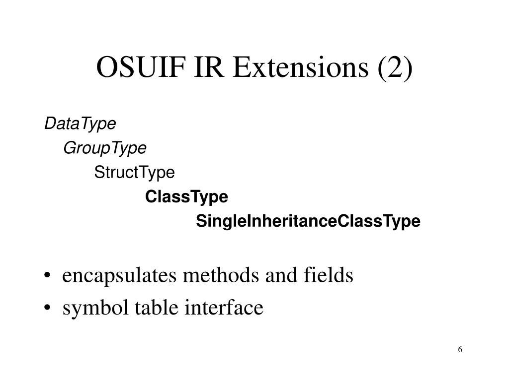 OSUIF IR Extensions (2)