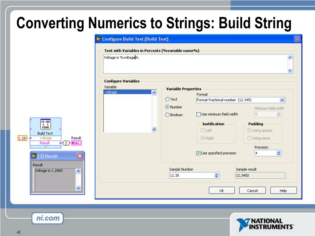 Converting Numerics to Strings: Build String