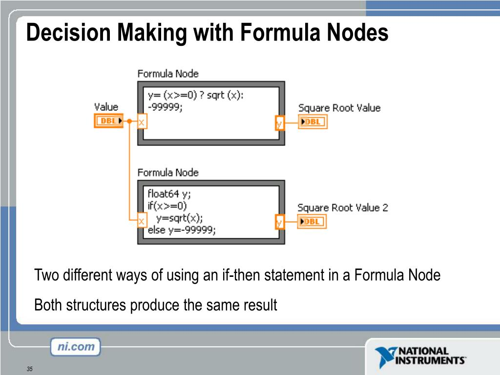 Decision Making with Formula Nodes