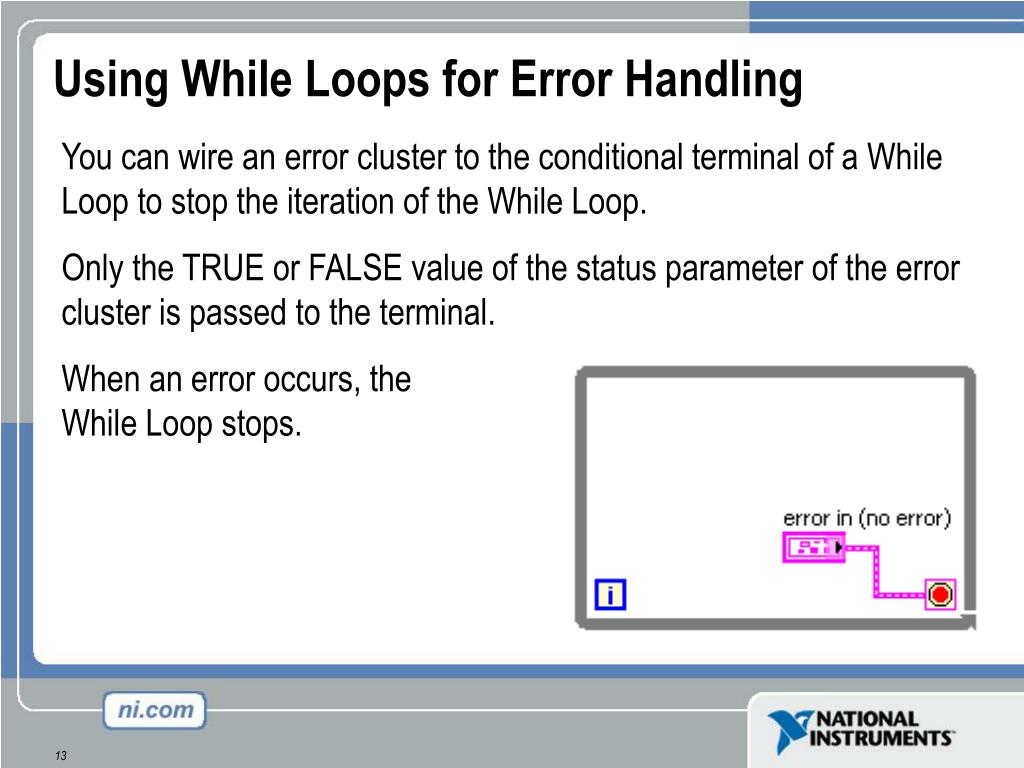 Using While Loops for Error Handling