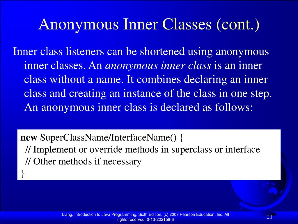 Anonymous Inner Classes (cont.)
