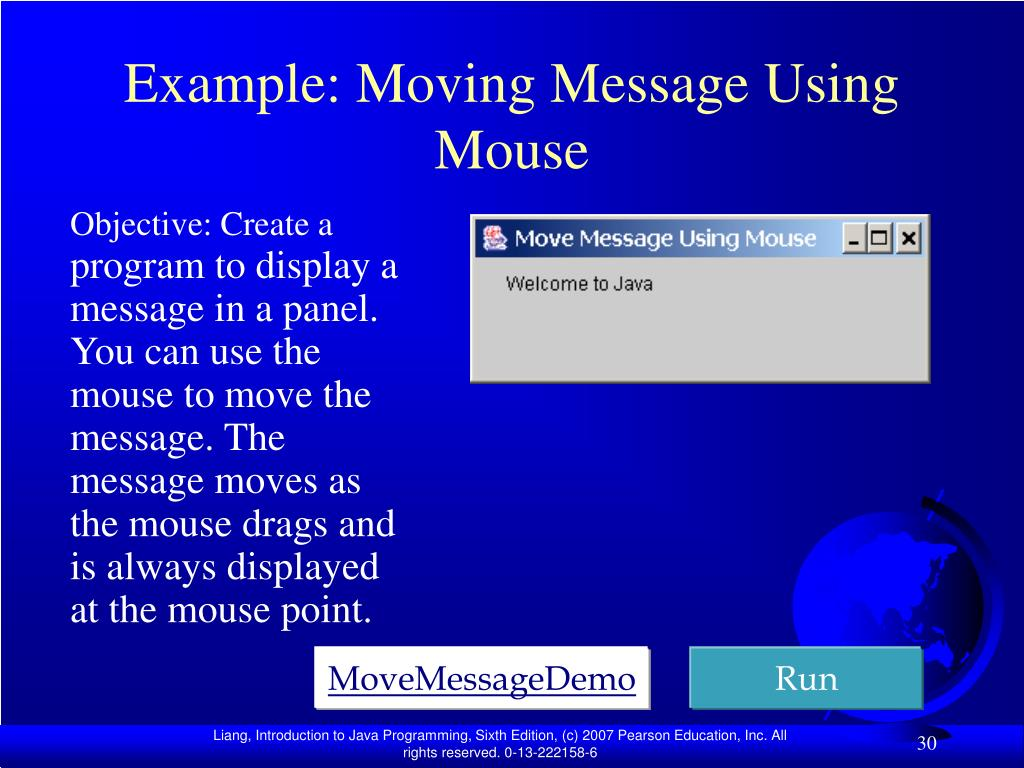 Example: Moving Message Using Mouse