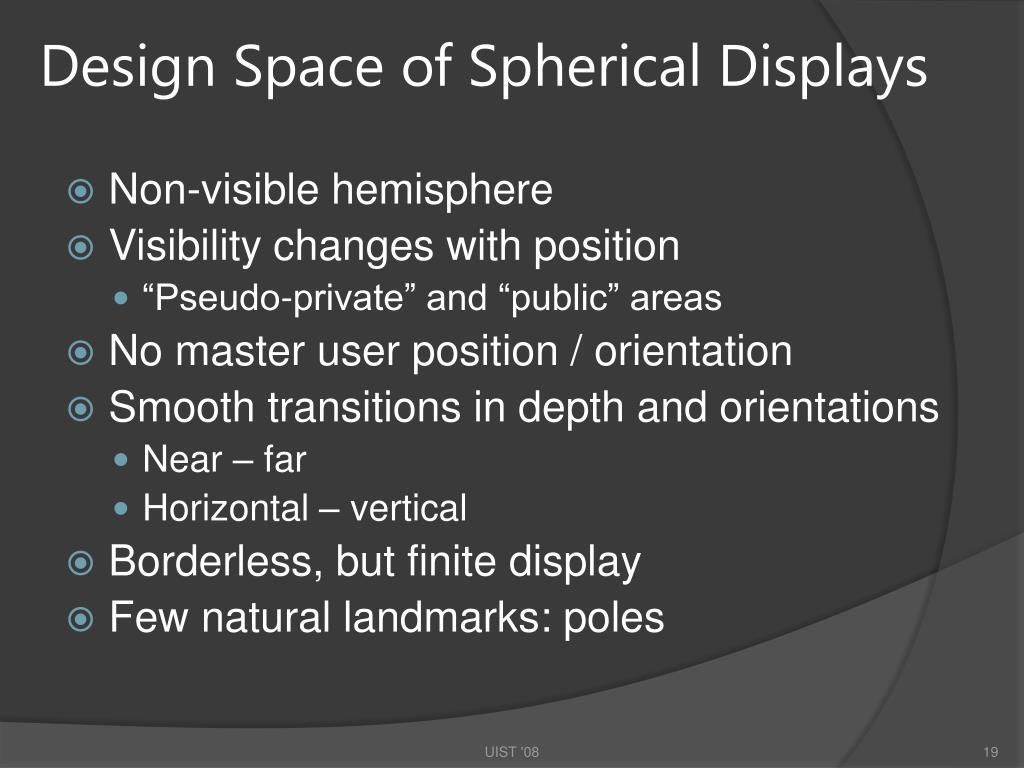 Design Space of Spherical Displays