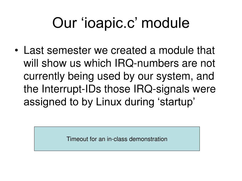 Our 'ioapic.c' module
