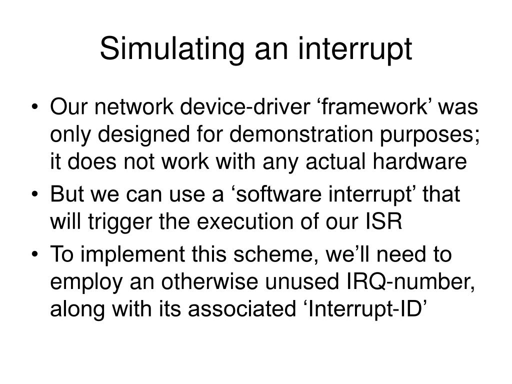 Simulating an interrupt