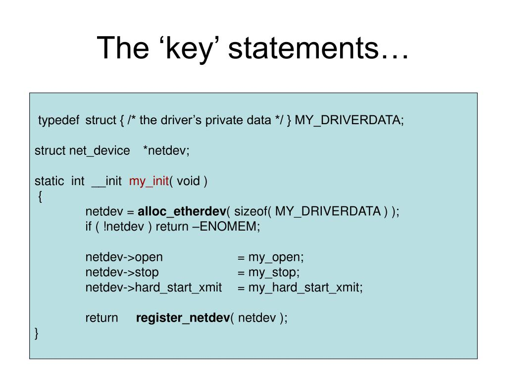 The 'key' statements…