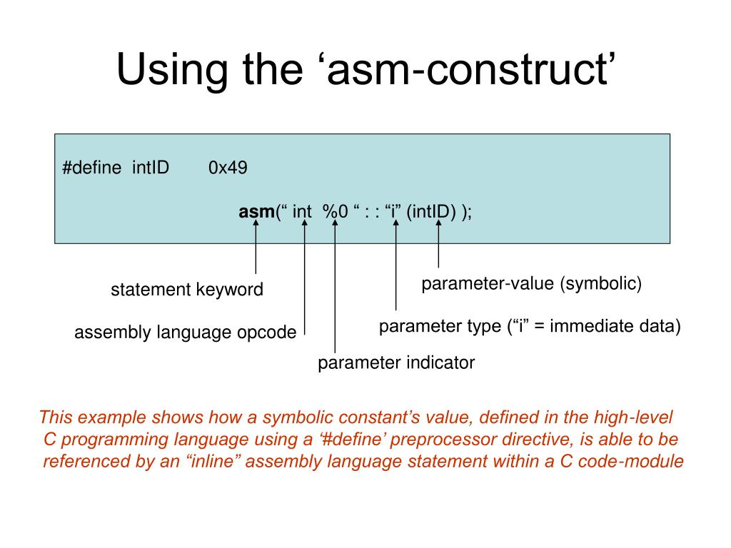 Using the 'asm-construct'