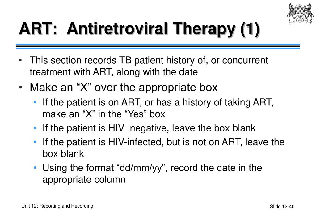 ART:  Antiretroviral Therapy (1)