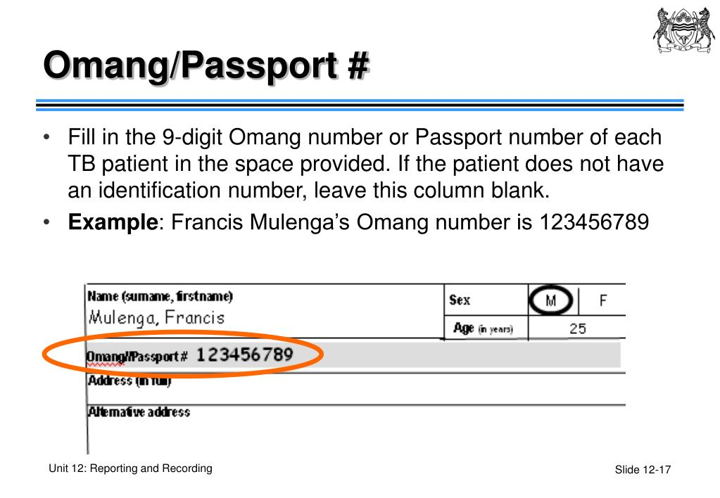 Omang/Passport #