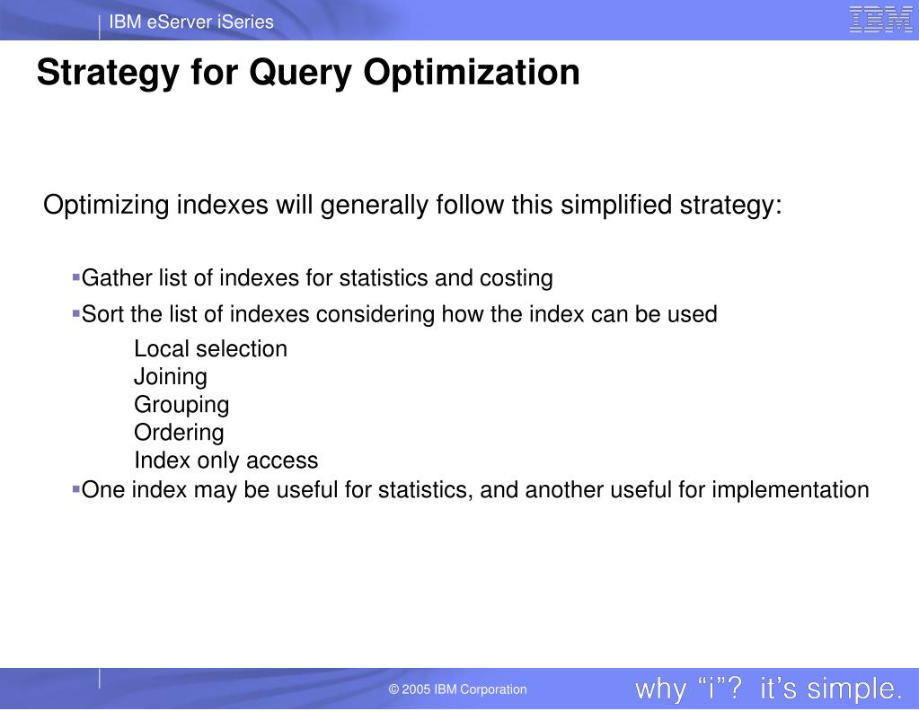 Strategy for Query Optimization