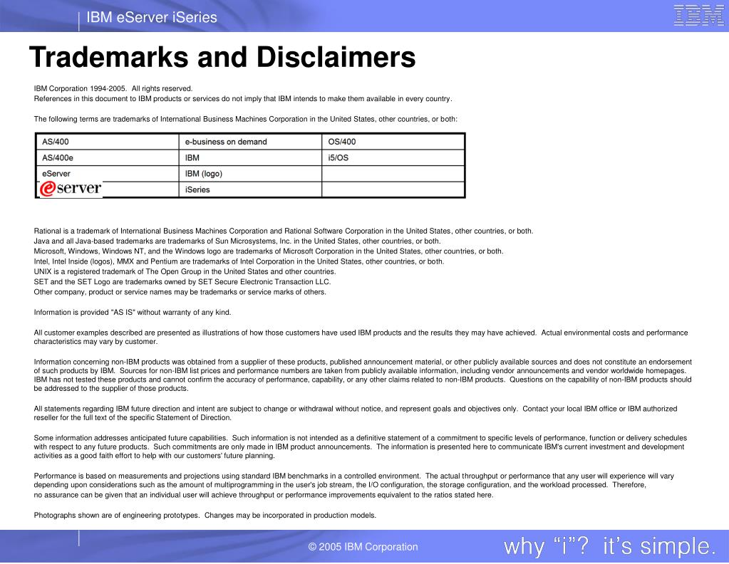 Trademarks and Disclaimers