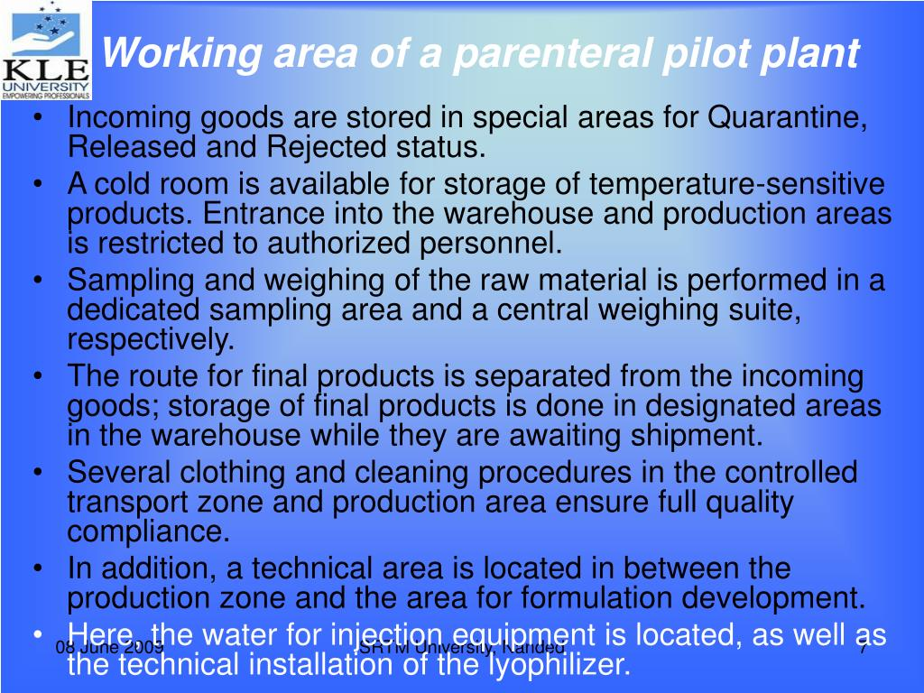 Working area of a parenteral pilot plant