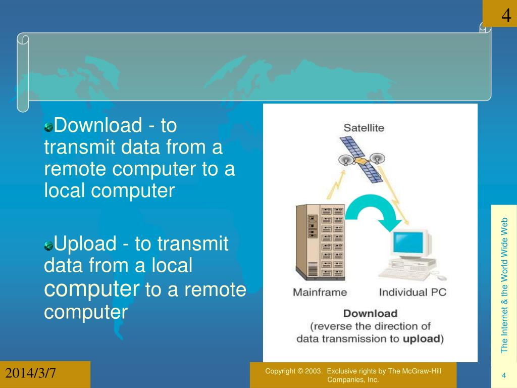 Download - to transmit data from a remote computer to a local computer