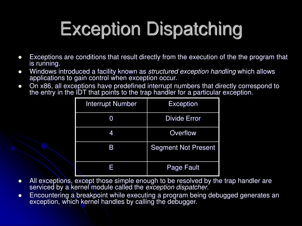 Exception Dispatching