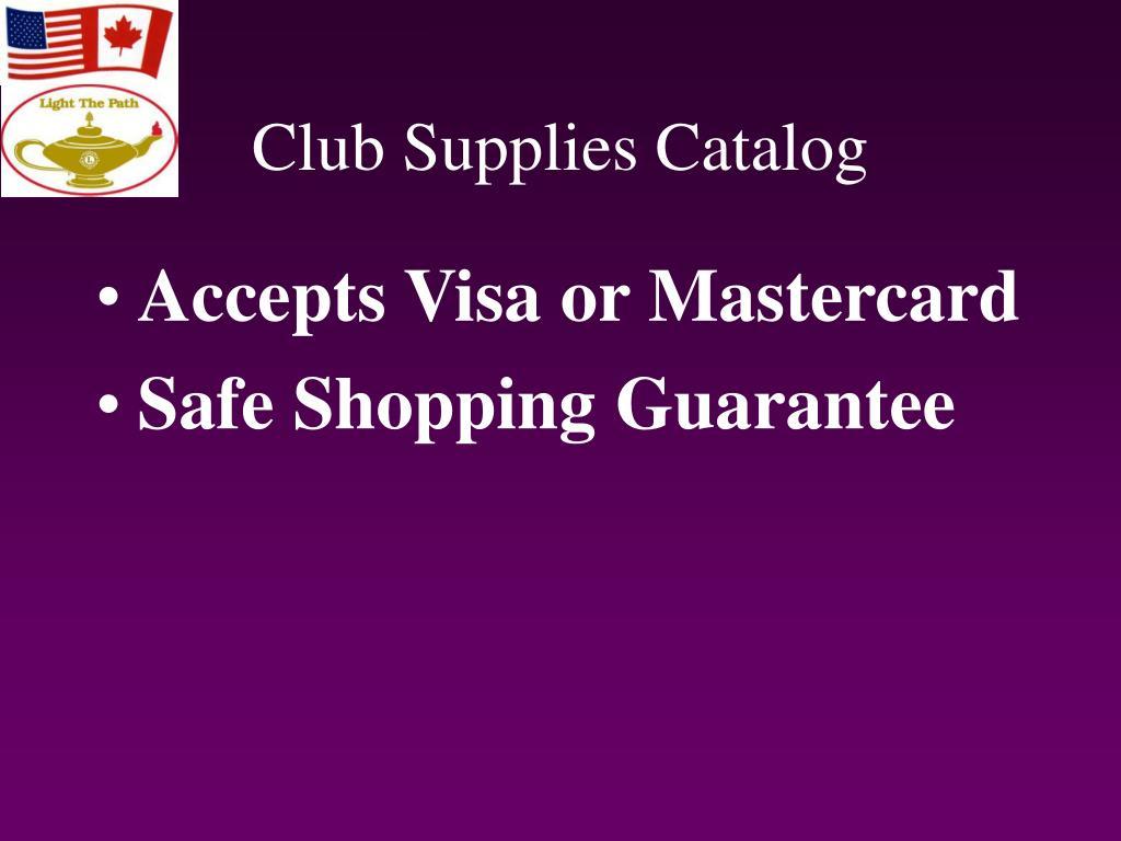 Club Supplies Catalog