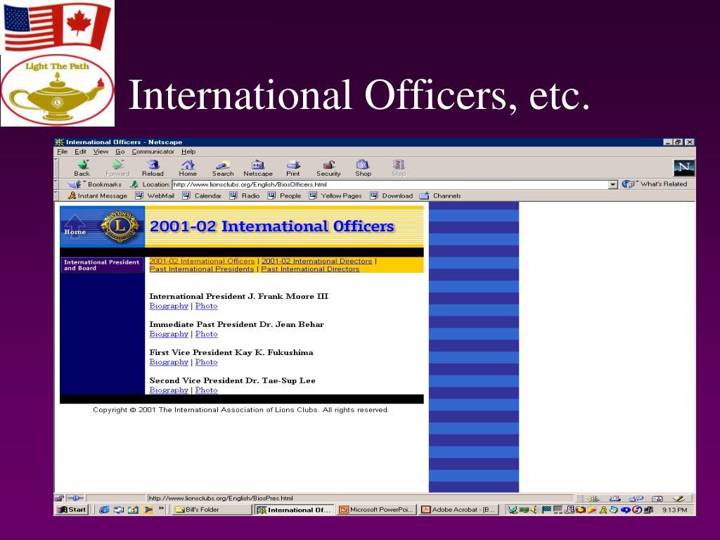International Officers, etc.