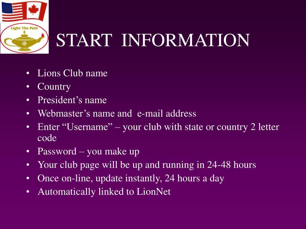 START  INFORMATION