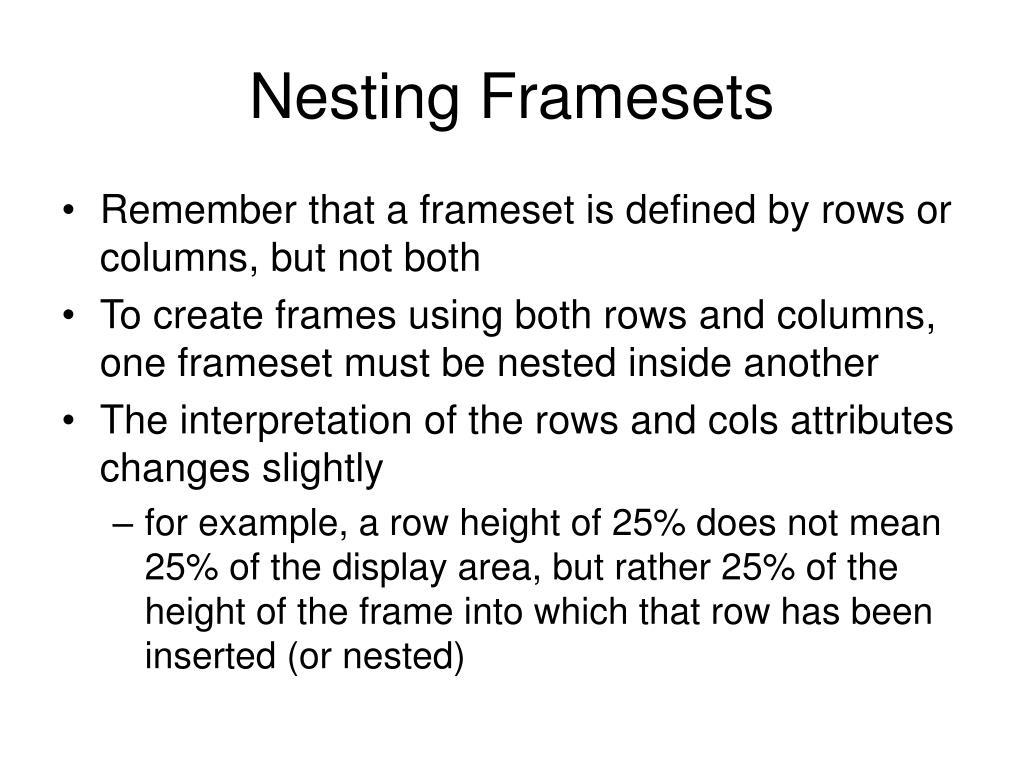 Nesting Framesets