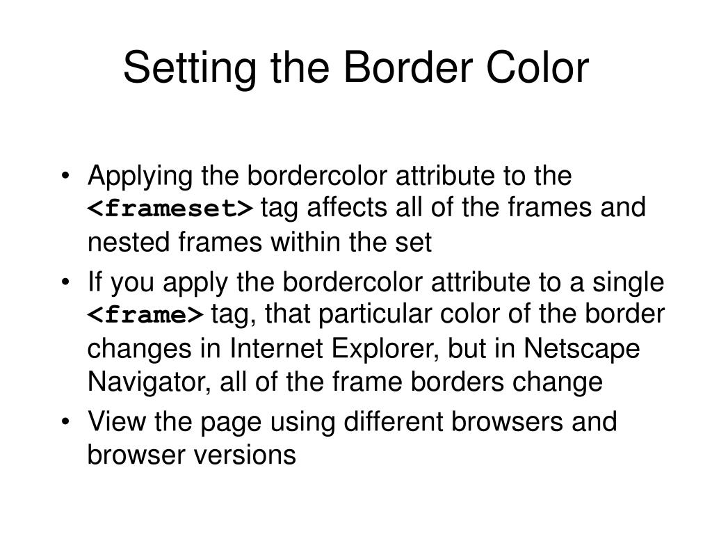 Setting the Border Color