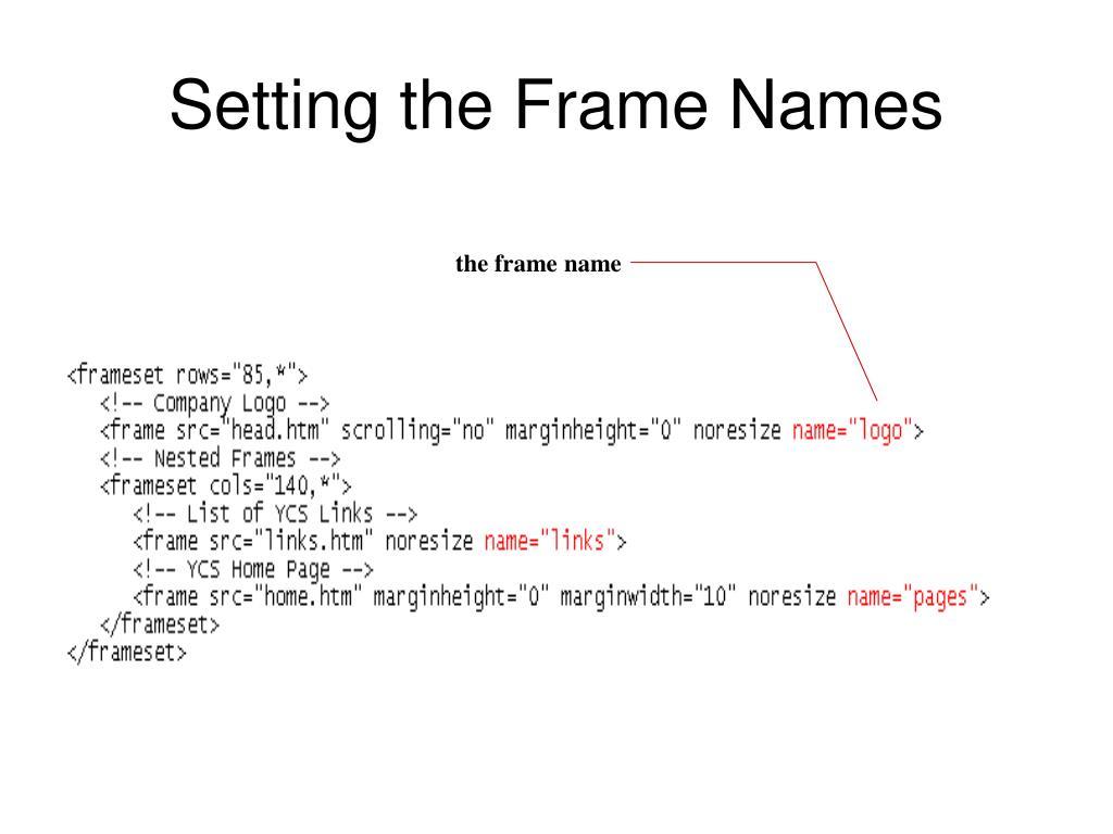 the frame name