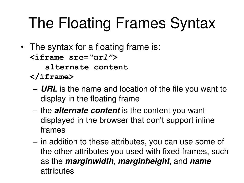 The Floating Frames Syntax