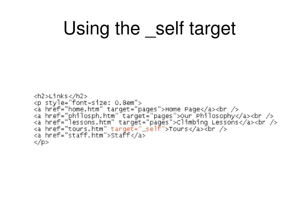 Using the _self target