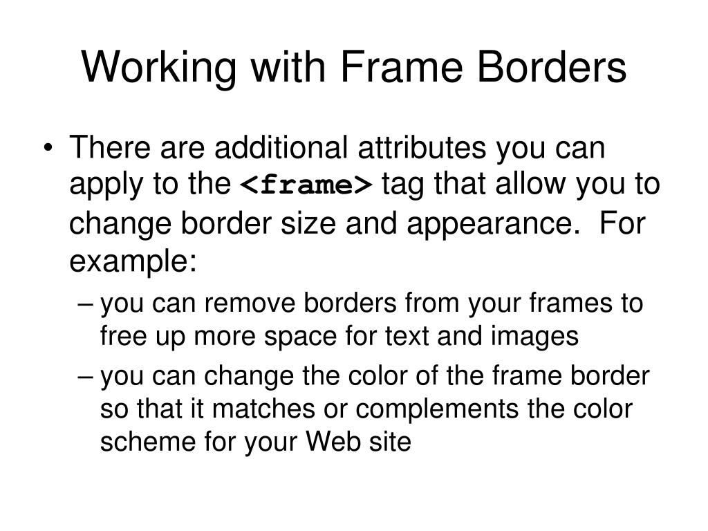 Working with Frame Borders