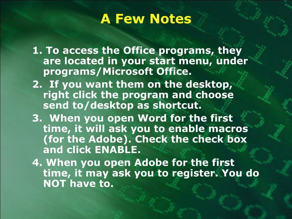 A Few Notes