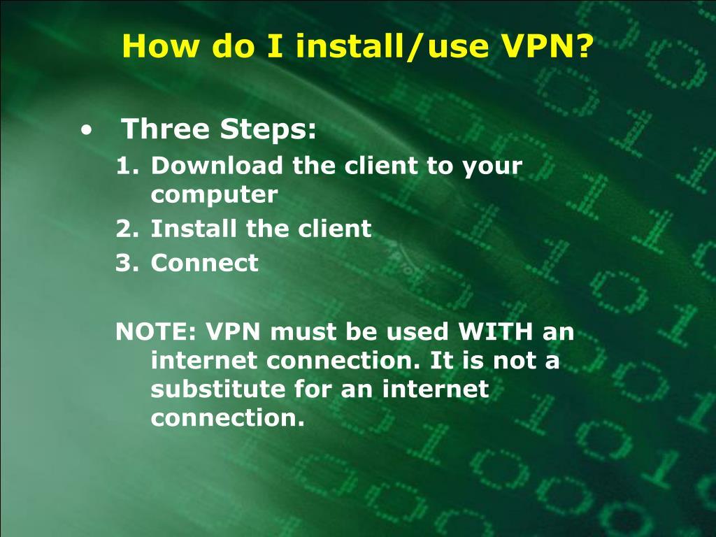 How do I install/use VPN?