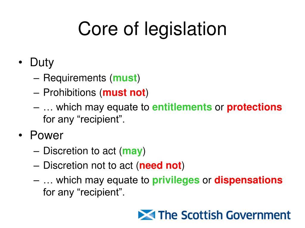 Core of legislation