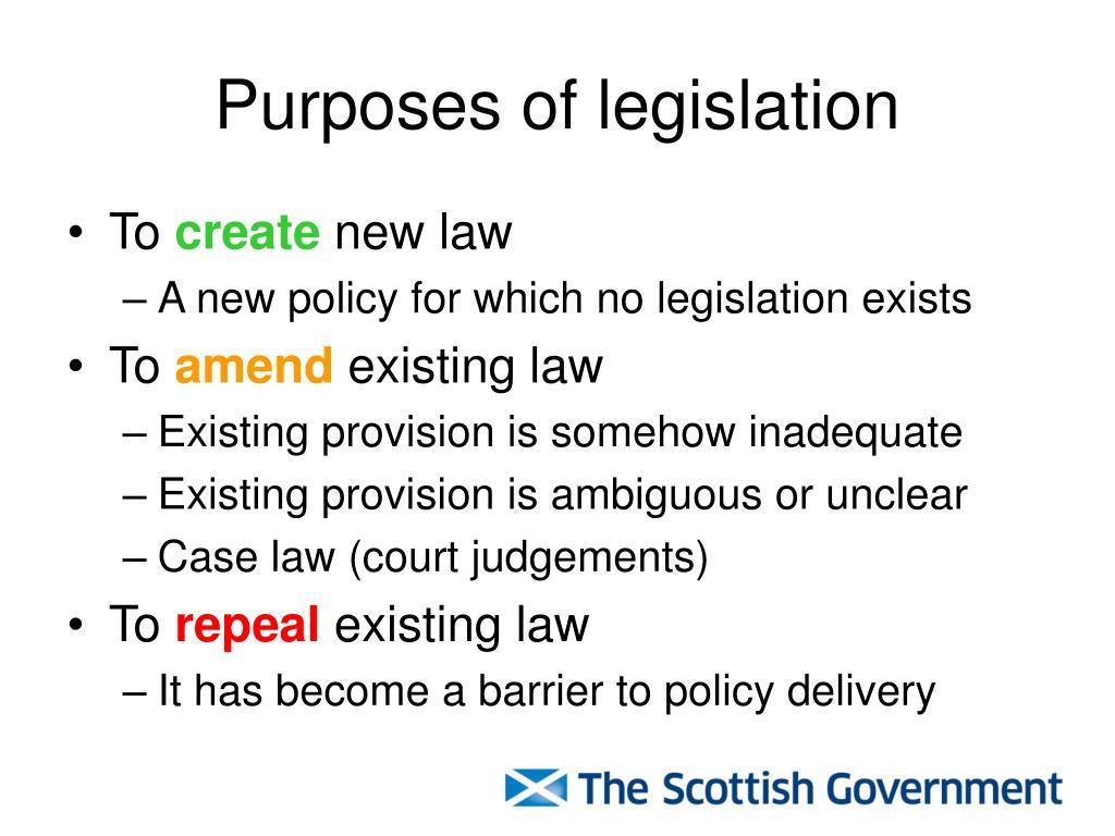 Purposes of legislation