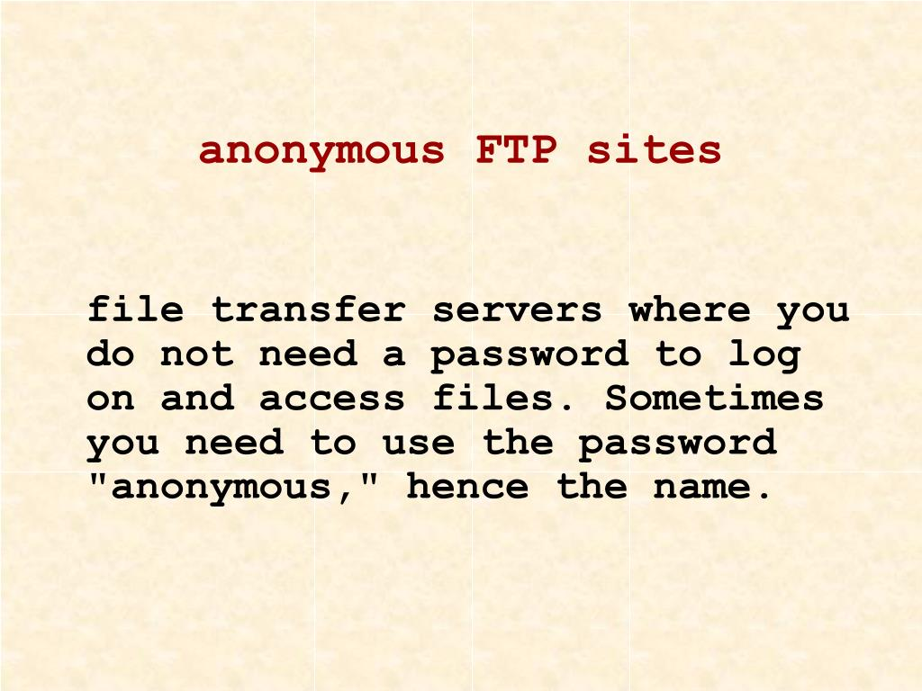 anonymous FTP sites