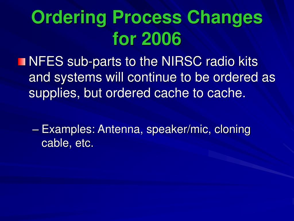 Ordering Process Changes for 2006