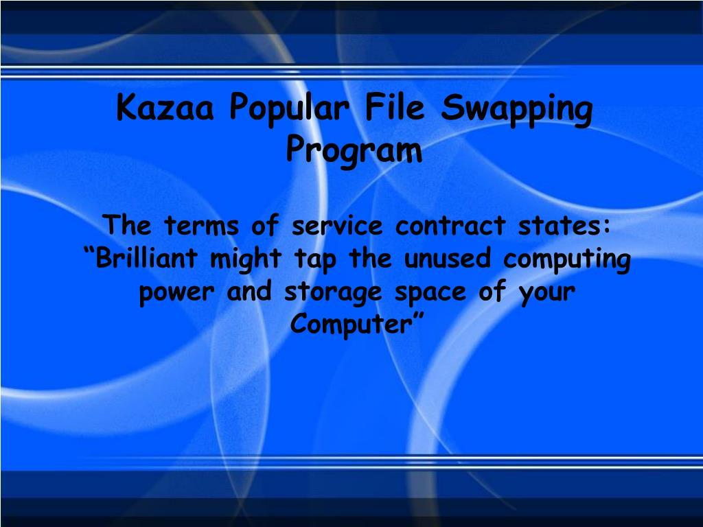 Kazaa Popular File Swapping Program