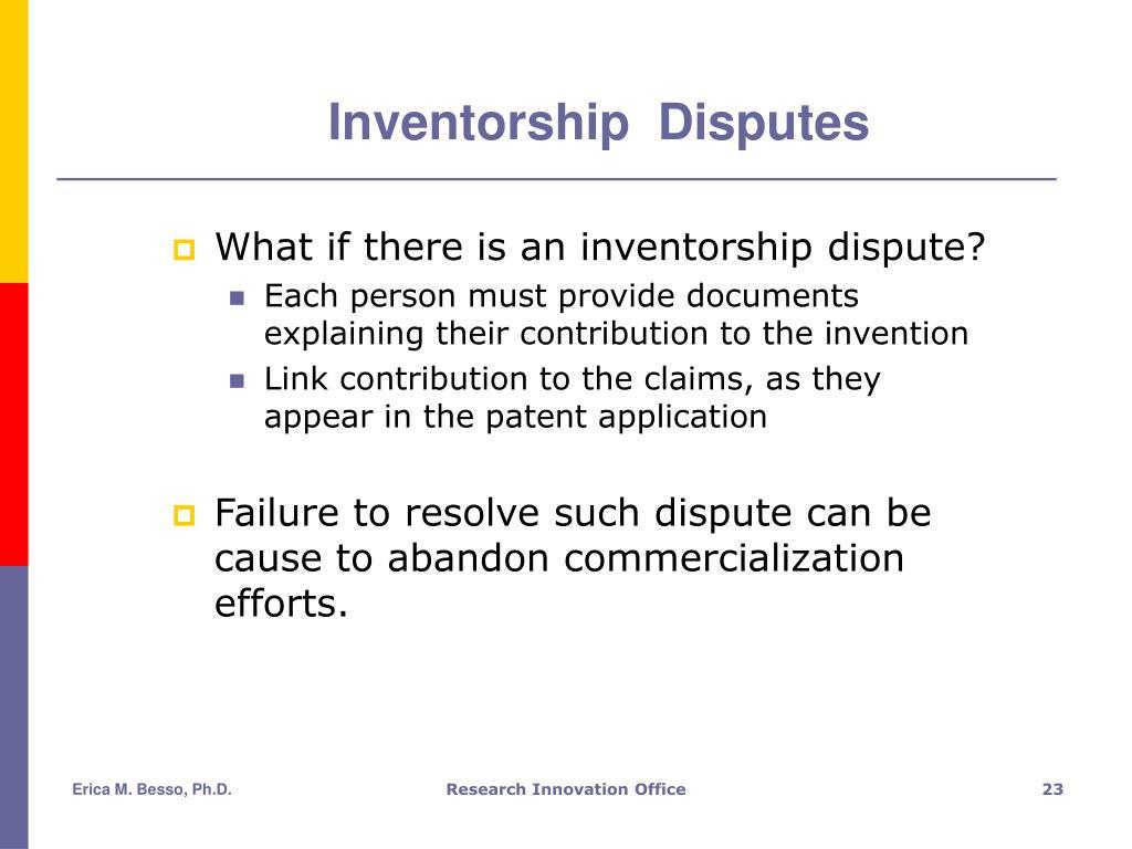Inventorship  Disputes