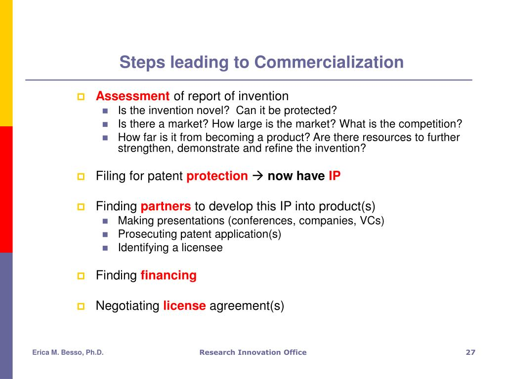 Steps leading to Commercialization