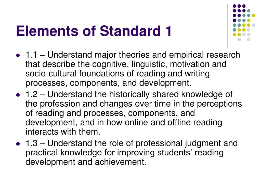Elements of Standard 1