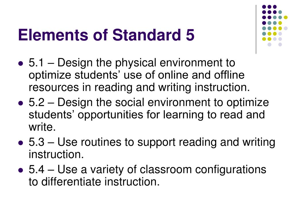 Elements of Standard 5