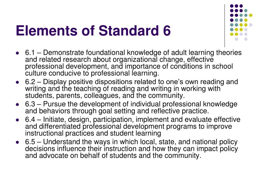 Elements of Standard 6