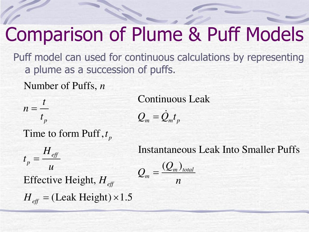 Comparison of Plume & Puff Models