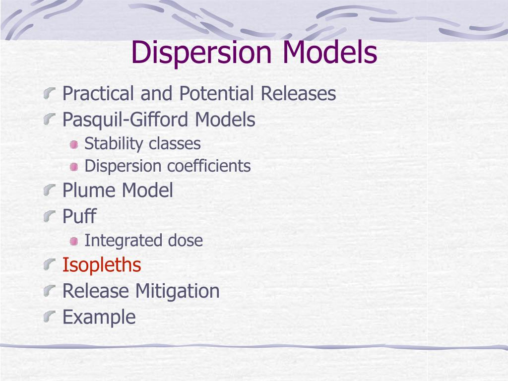Dispersion Models