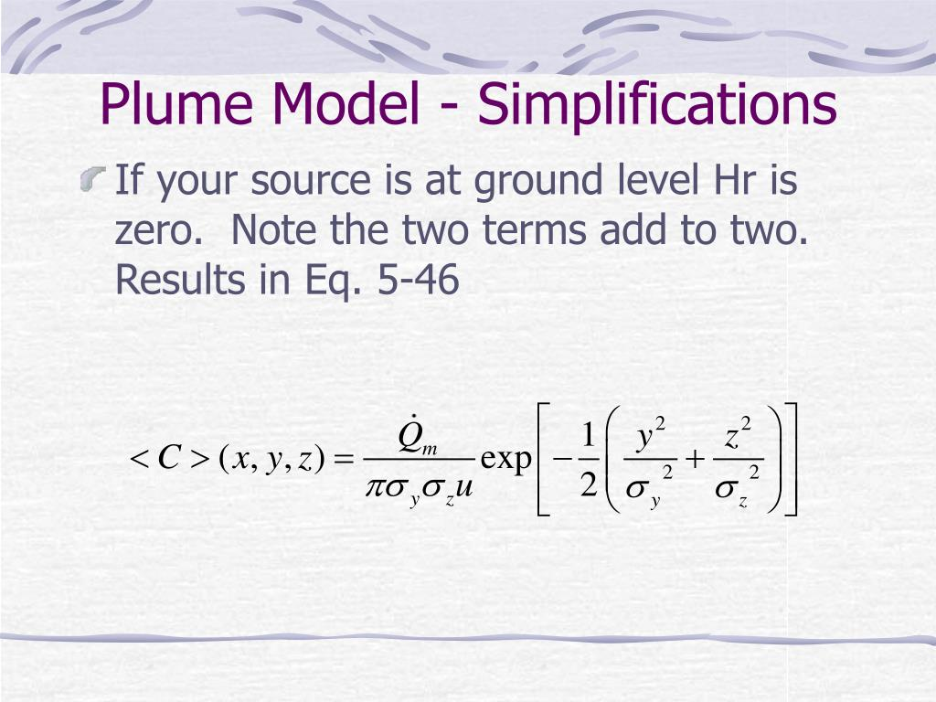 Plume Model - Simplifications