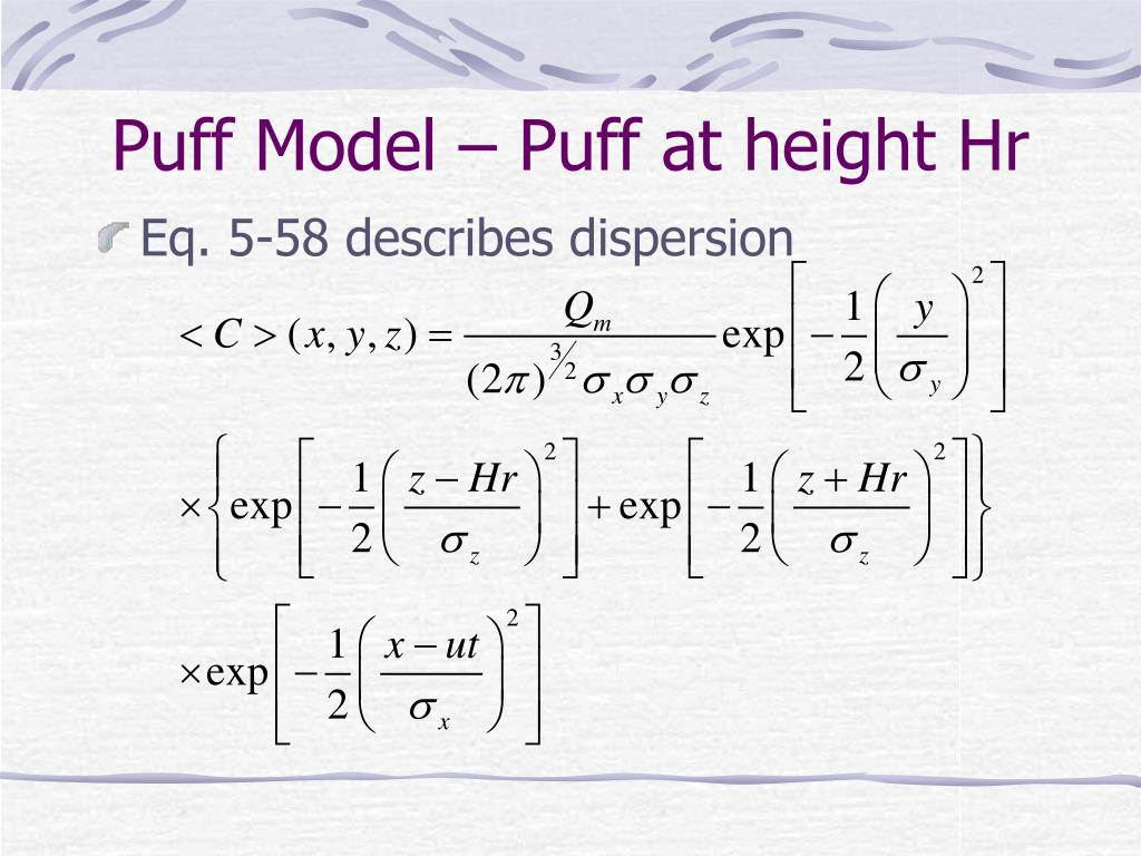 Puff Model – Puff at height Hr