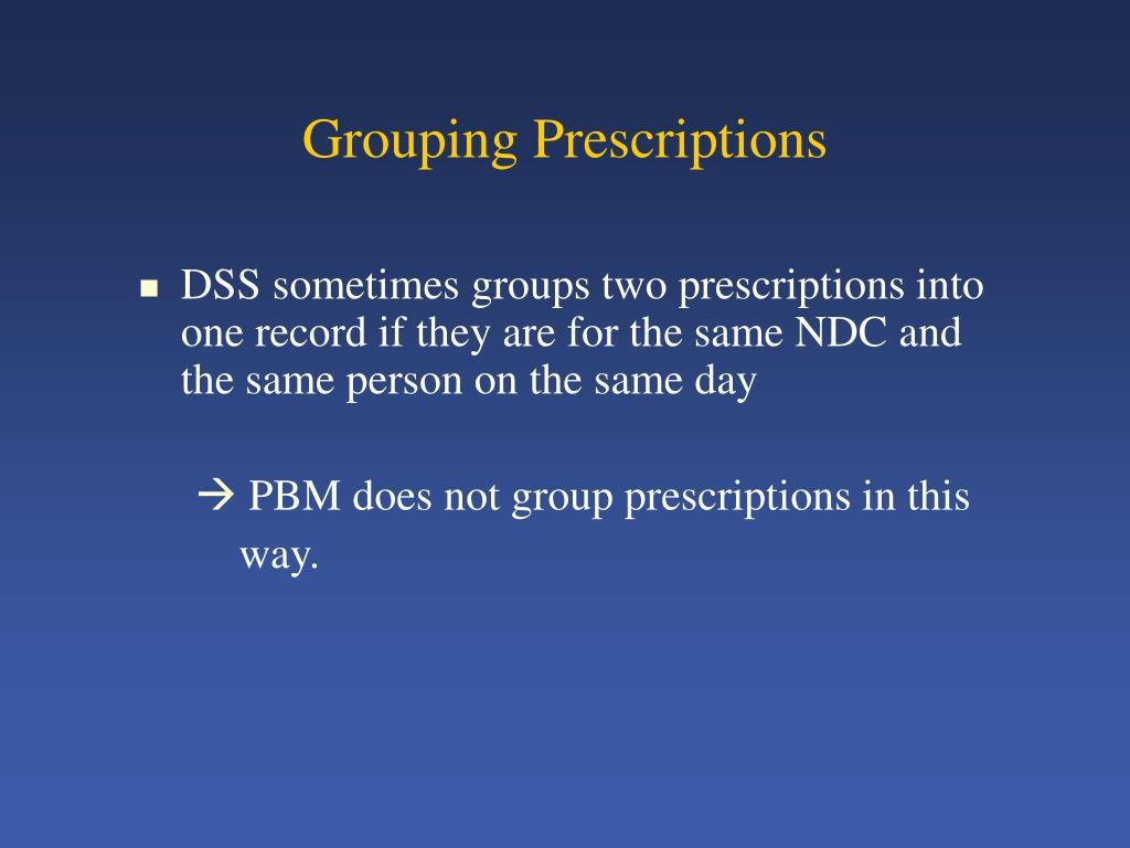 Grouping Prescriptions