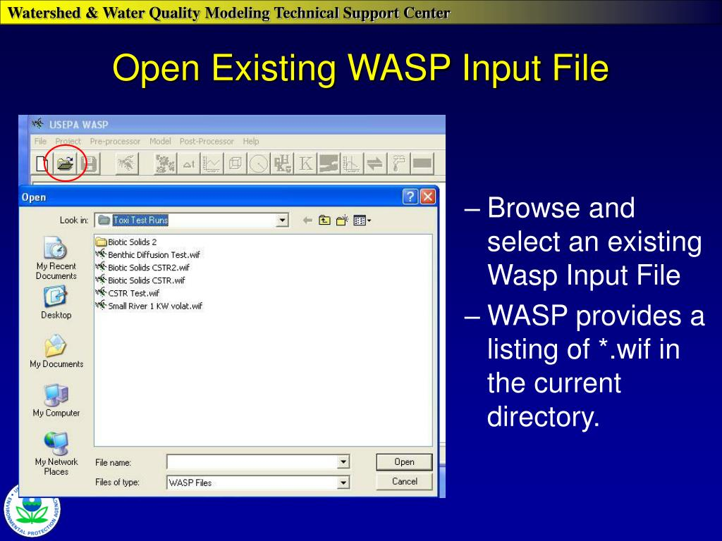 Open Existing WASP Input File