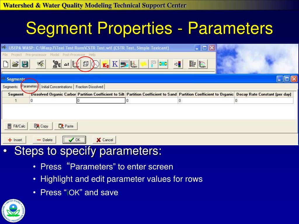 Segment Properties - Parameters