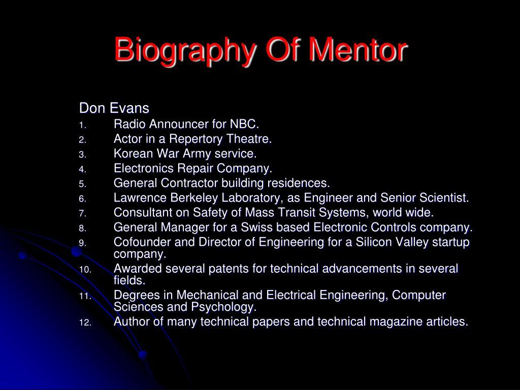 Biography Of Mentor