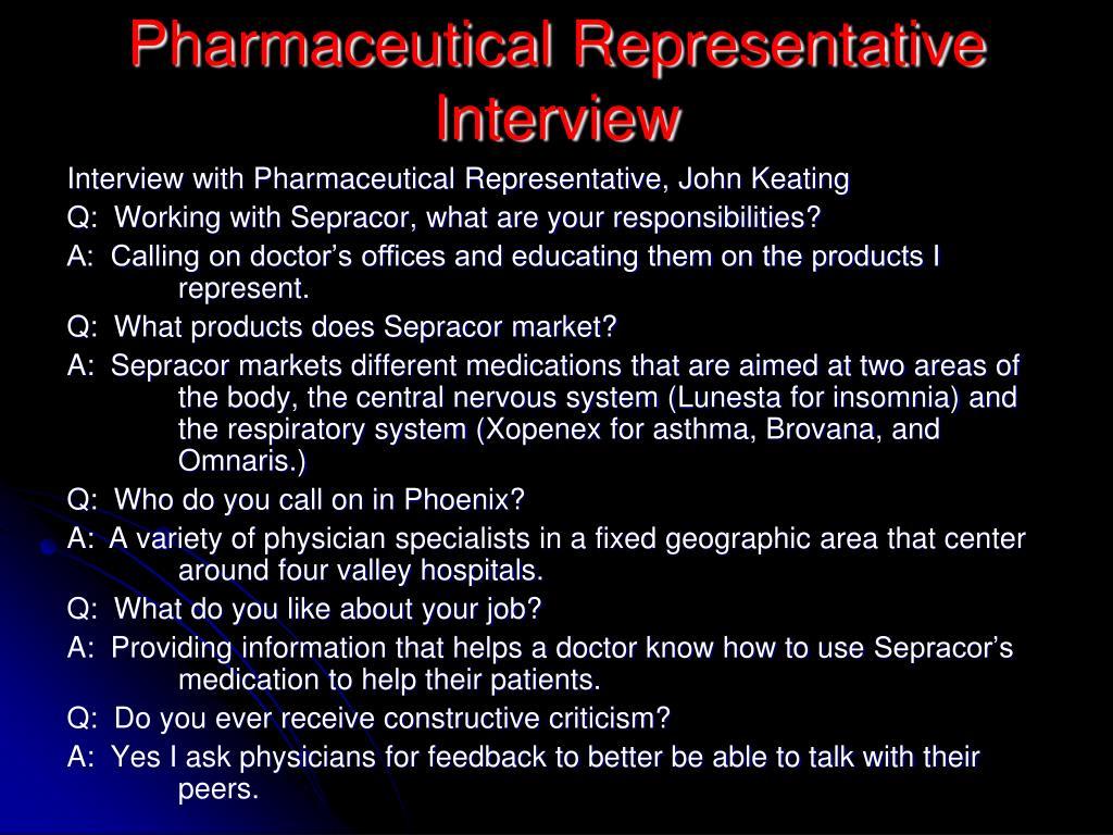 Pharmaceutical Representative Interview